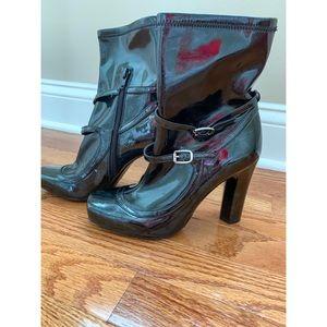BCBGirls Black Patent Leather Shimmer Heel Boots